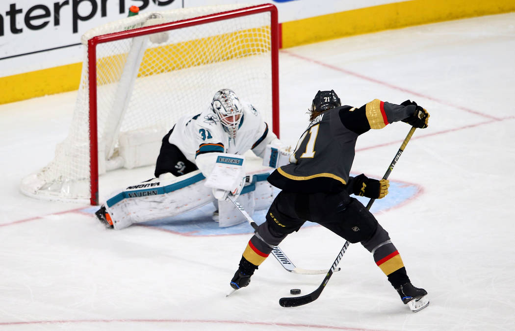 Golden Knights center William Karlsson (71) score a goal against the San  Jose Sharks 33652b9e7