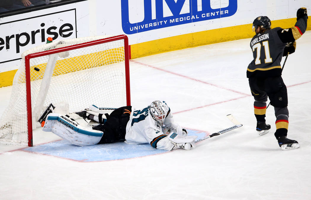 Golden Knights center William Karlsson (71) score a goal against the San Jose Sharks during the third period of an NHL hockey game at T-Mobile Arena in Las Vegas on Saturday, March 31, 2018. Chase ...