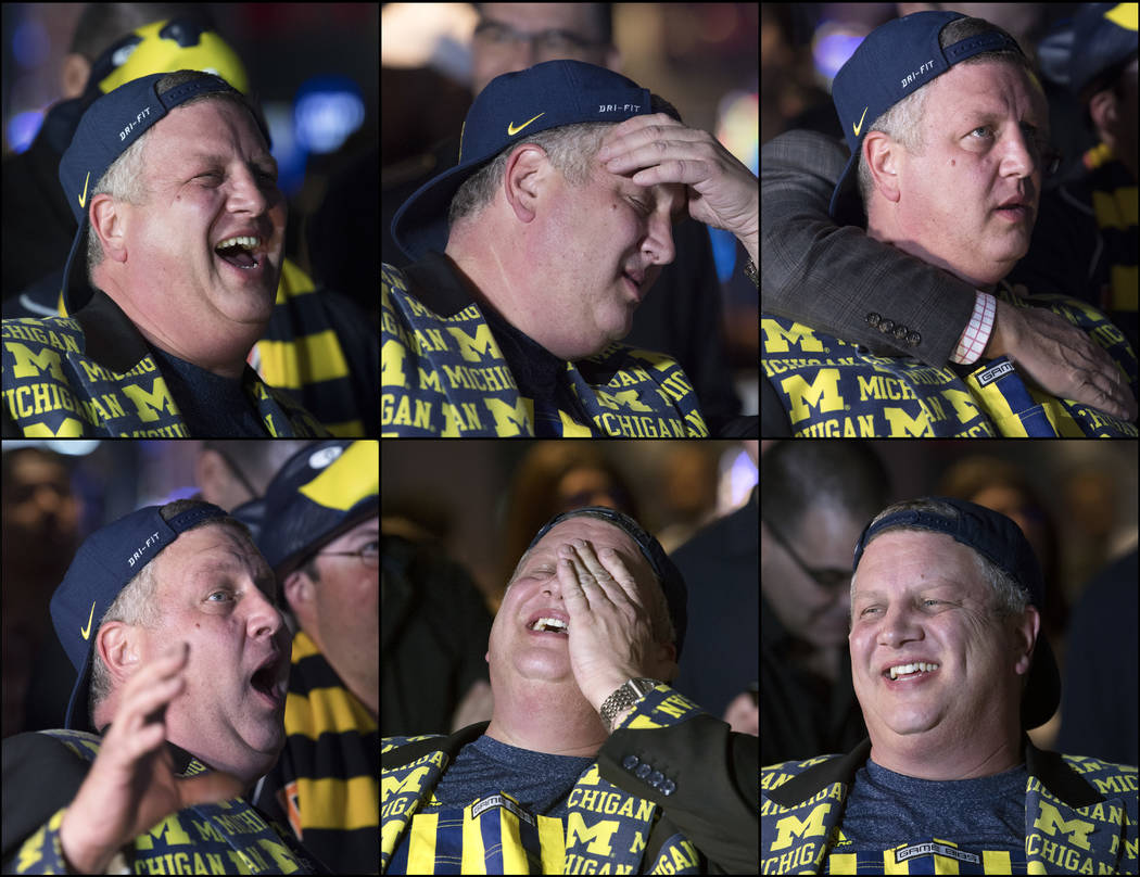 This is series of photos of Derek Stevens, CEO and co-owner of The D Las Vegas, as he watches his alma mater Michigan take on Loyola in the Final Four Saturday, March 31, 2018, at The D. (Sam Morr ...