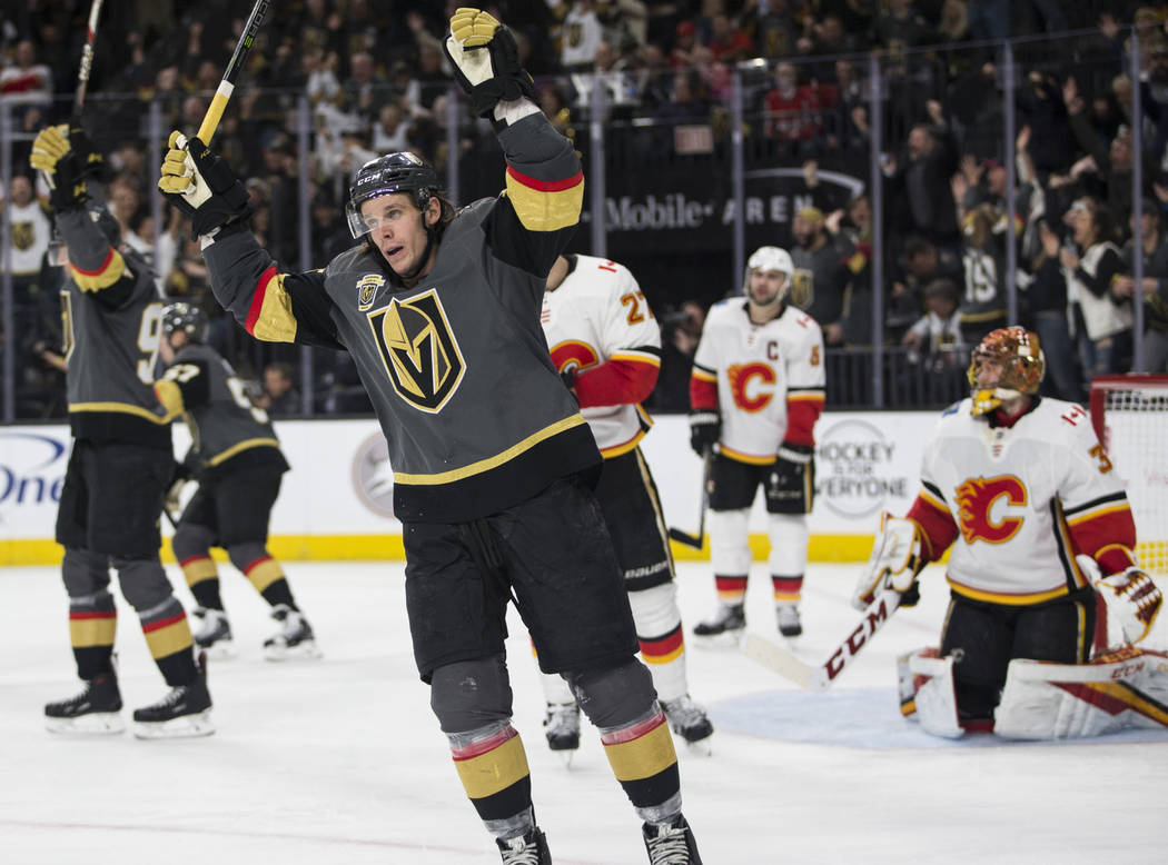 Vegas Golden Knights left wing Erik Haula (56) celebrates a score during the third period of an NHL hockey game at T-Mobile Arena in Las Vegas, Wednesday, Feb. 21, 2018. The Knights won 7-3. Erik  ...
