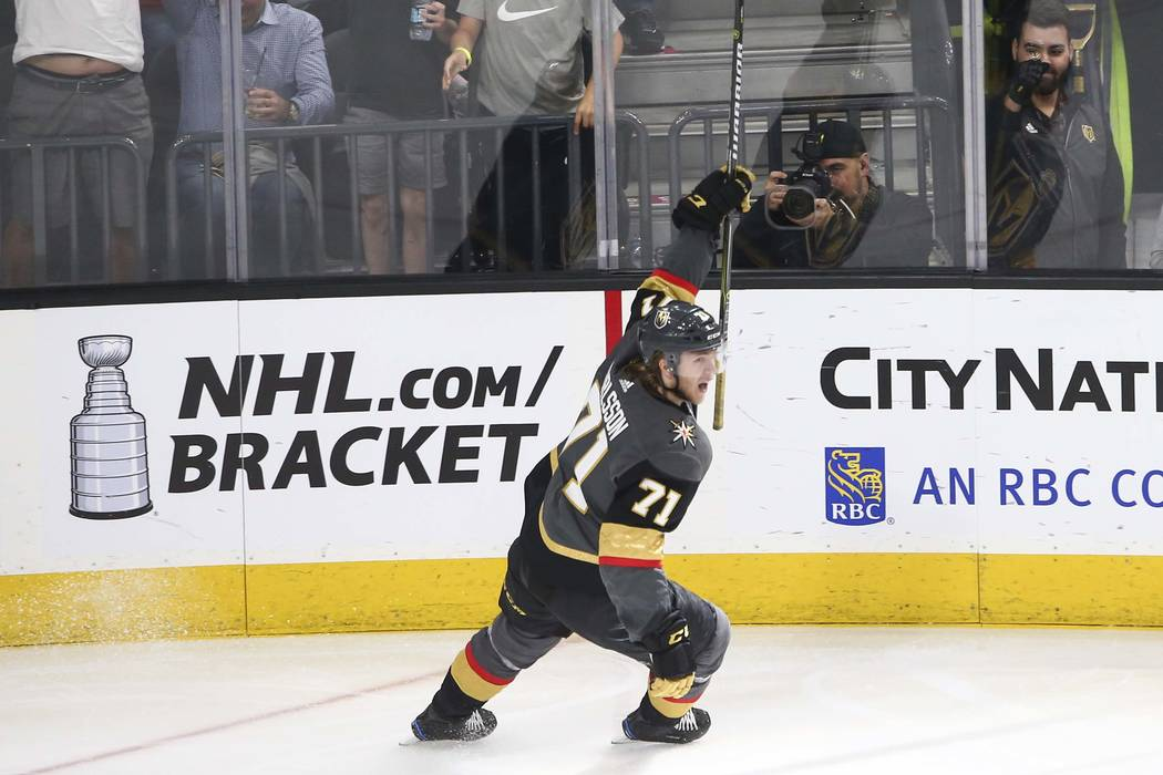 Golden Knights center William Karlsson (71) celebrates his goal against the San Jose Sharks during the third period of an NHL hockey game at T-Mobile Arena in Las Vegas on Saturday, March 31, 2018 ...