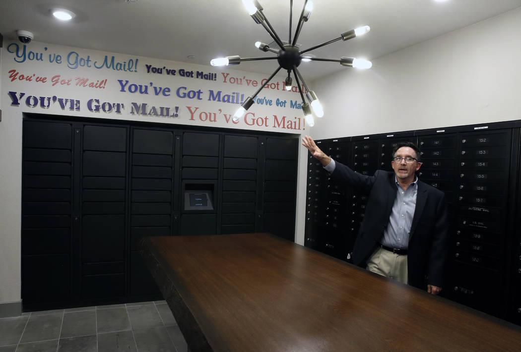 Wayne Laska, developer of the Mercer apartment complex, leads a tour of the mailroom at the Mercer apartment complex on Monday, April 2, 2018, in Las Vegas.  (Bizuayehu Tesfaye/Las Vegas Review-Jo ...