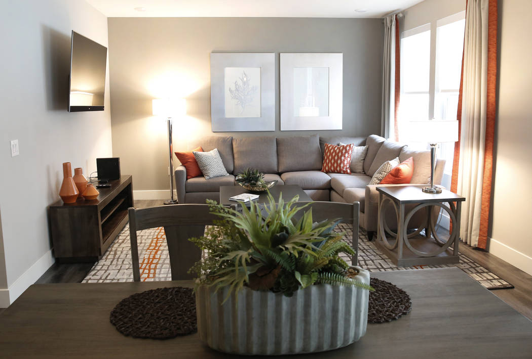 A gust room at the Mercer apartment complex on Monday, April 2, 2018, in Las Vegas. (Bizuayehu Tesfaye/Las Vegas Review-Journal) @bizutesfaye