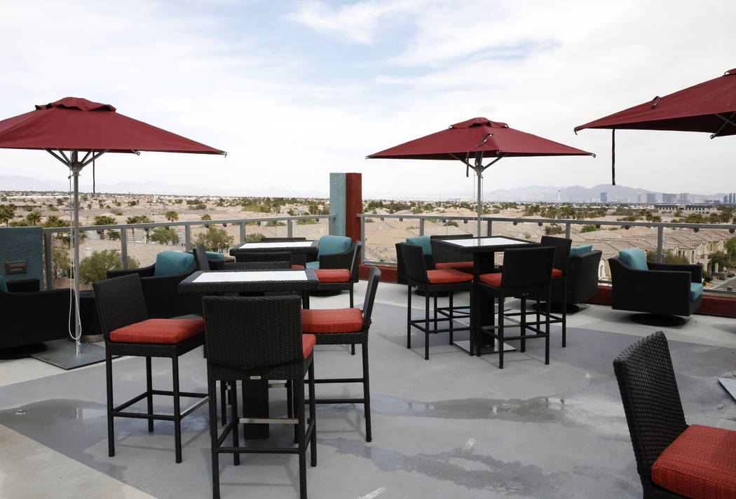 The Las Vegas Strip is seen from the roof deck of the Mercer apartment complex on Monday, April 2, 2018, in Las Vegas.  (Bizuayehu Tesfaye/Las Vegas Review-Journal) @bizutesfaye