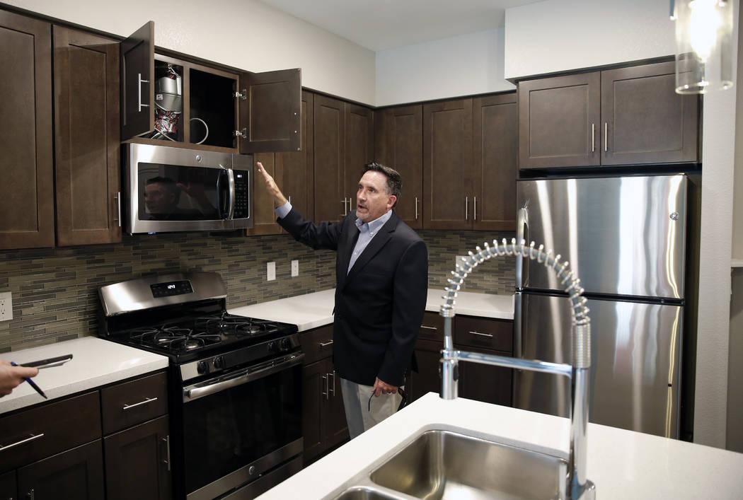 Wayne Laska, developer of the Mercer apartment complex, leads a tour of an apartment unit at the Mercer apartment complex on Monday, April 2, 2018, in Las Vegas. Bizuayehu Tesfaye/Las Vegas Review ...