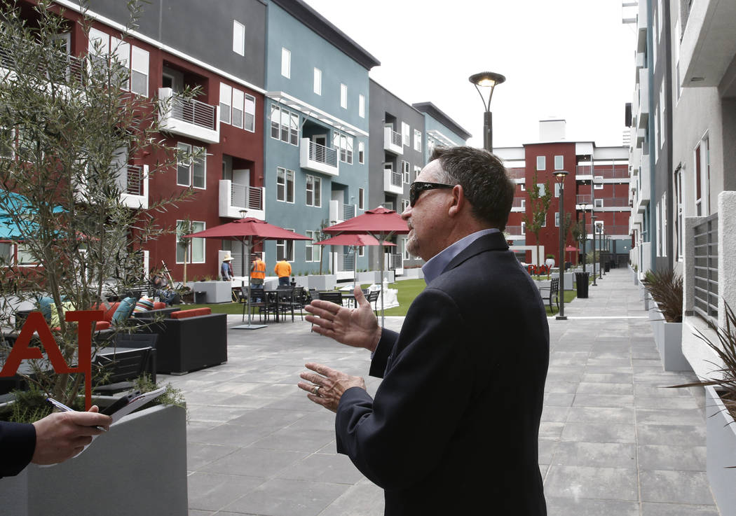 Wayne Laska, developer of the Mercer apartment complex, speaks during an interview with the Las Vegas Review-Journal on Monday, April 2, 2018, in Las Vegas. (Bizuayehu Tesfaye/Las Vegas Review-Jou ...
