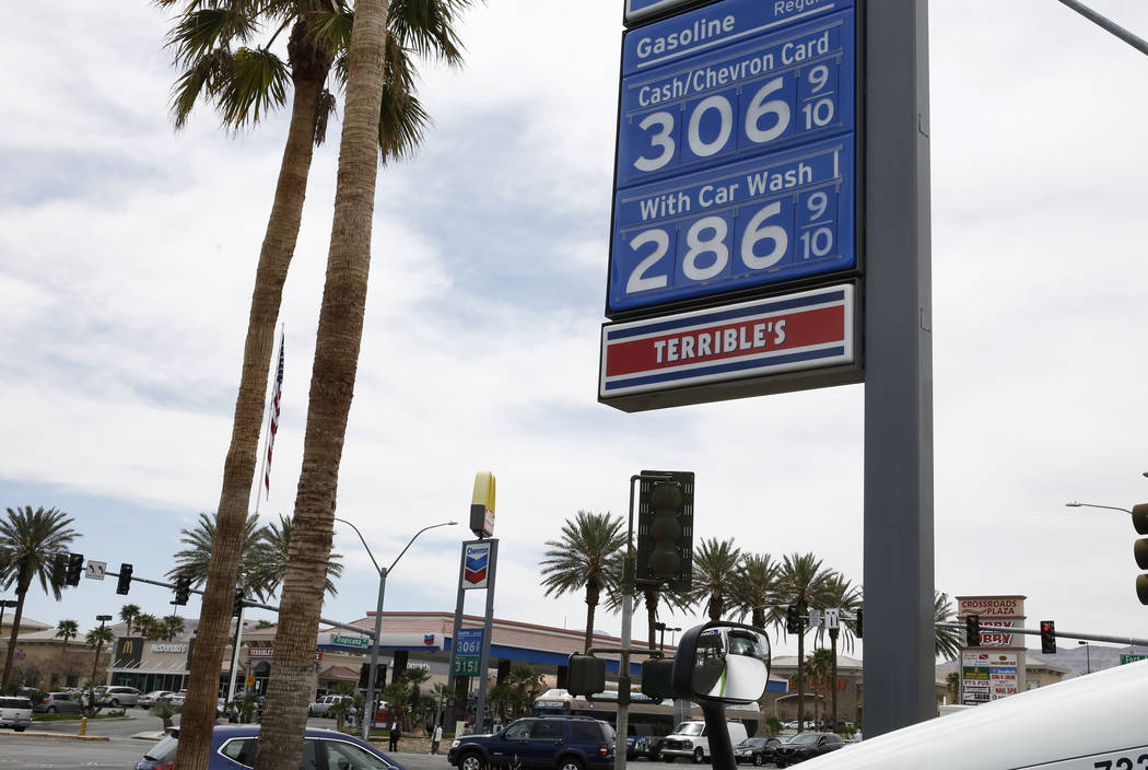 Gas prices are at Chevron gas stations at the intersection of Tropical Avenue and Fort Apache Road on Monday, April 2, 2018, in Las Vegas. (Bizuayehu Tesfaye/Las Vegas Review-Journal) @bizutesfaye