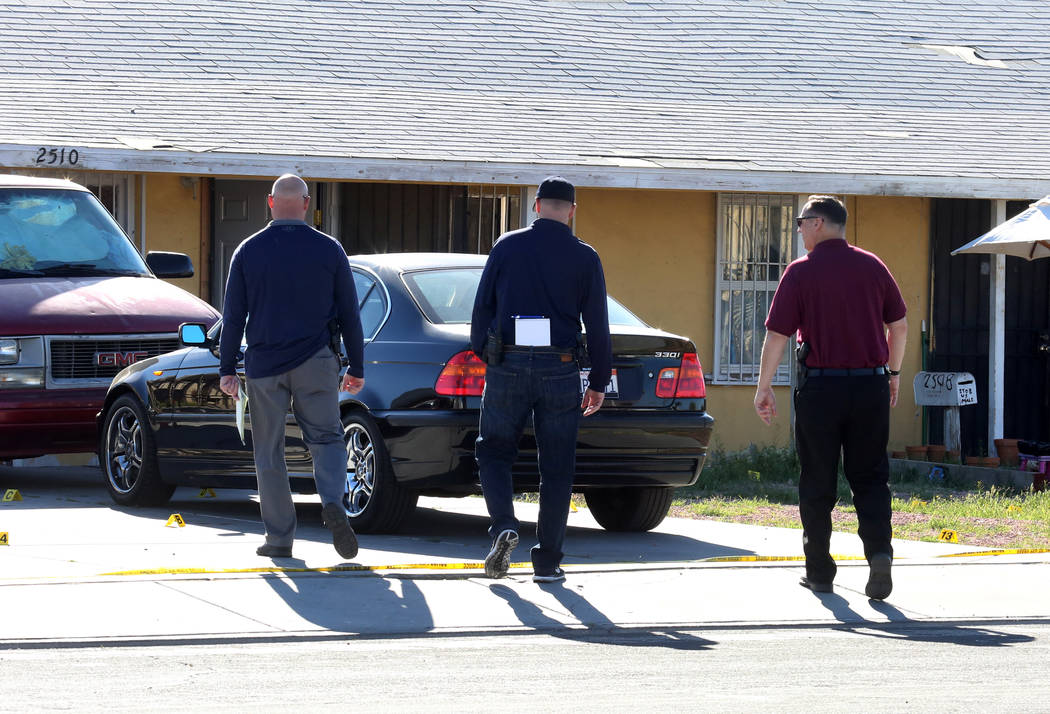 North Las Vegas police investigate a homicide at 2510 Daley St., near Las Vegas Boulevard North and Carey Avenue, on Thursday, March 29, 2018. (Bizuayehu Tesfaye/Las Vegas Review-Journal) @bizutesfaye