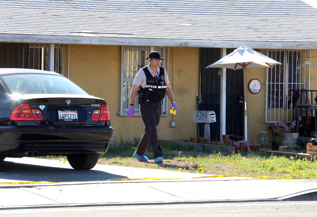 North Las Vegas police are investigating a homicide at  2510 Daley St., near Las Vegas Boulevard North and Carey Avenue, on Thursday, March 29, 2018. (Bizuayehu Tesfaye/Las Vegas Review-Journal) @ ...