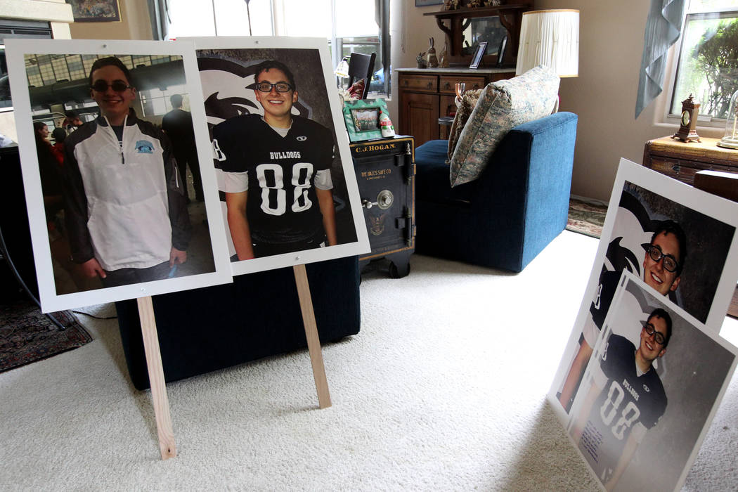 Photos of Matt Touma, a 16-year-old Centennial High School student who took his own life at his Las Vegas home are shown at the family home Monday, April 2, 2018. K.M. Cannon Las Vegas Review-Jour ...