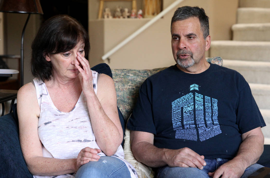 Kathy and Bob Touma, parents Matt Touma, a 16-year-old Centennial High School student who took his own life at his Las Vegas home, talk to a reporter Monday, April 2, 2018. K.M. Cannon Las Vegas R ...