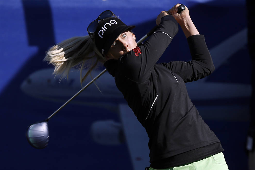 Pernilla Lindberg, of Sweden, hits from the 10th tee during the eighth playoff round against Inbee Park at the LPGA Tour ANA Inspiration golf tournament at Mission Hills Country Club in Rancho Mir ...