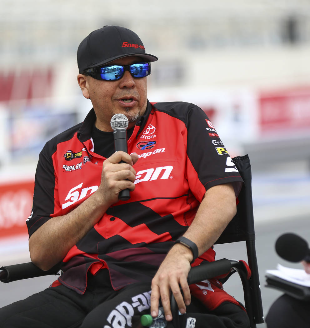 Cruz Pedregon, driver of the Snap-On Tools Toyota Camry Funny Car, talks about the new track at The Strip at Las Vegas Motor Speedway ahead of the DENSO Spark Plugs NHRA Nationals in Las Vegas on  ...