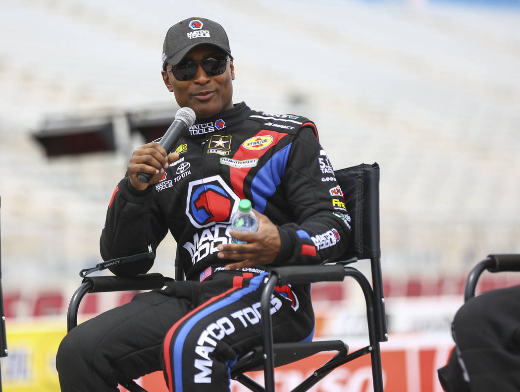 Antron Brown, driver of the Matco Tools/U.S. Army dragster, talks about the new track at The Strip at Las Vegas Motor Speedway ahead of the DENSO Spark Plugs NHRA Nationals in Las Vegas on Thursda ...