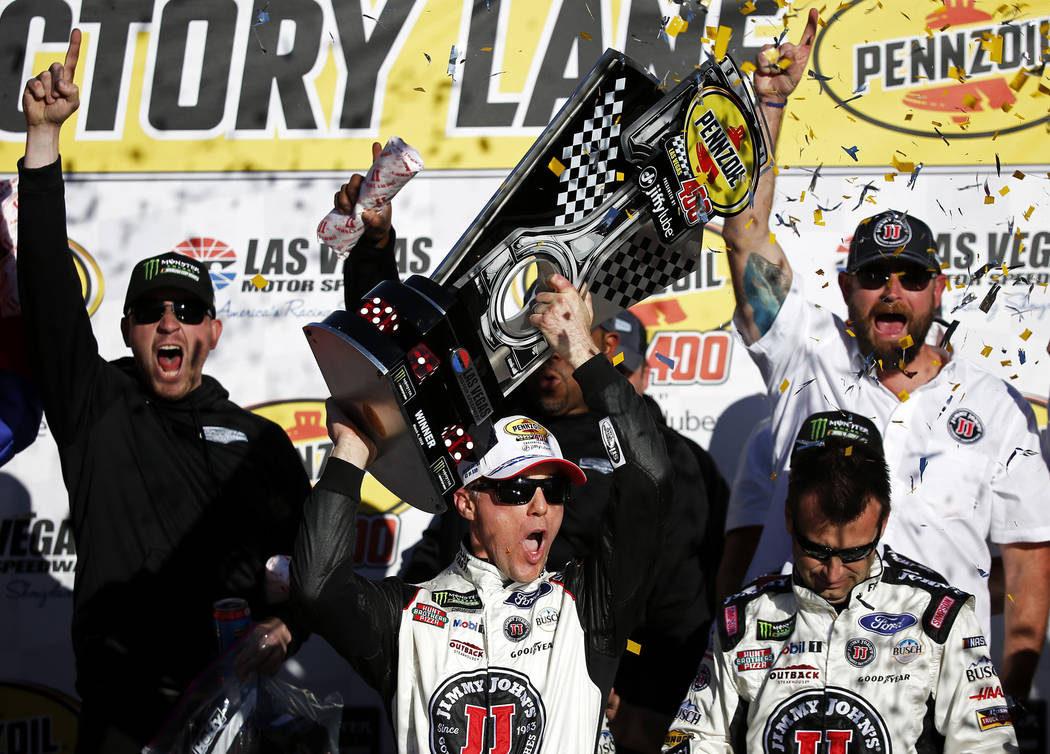 Kevin Harvick (4) celebrates after winning the Monster Energy NASCAR Cup Series Pennzoil 400 auto race at the Las Vegas Motor Speedway in Las Vegas on Sunday, March 4, 2018. Andrea Cornejo Las Veg ...