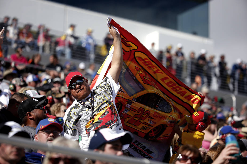 Fans watch the Monster Energy NASCAR Cup Series Pennzoil 400 auto race at the Las Vegas Motor Speedway in Las Vegas on Sunday, March 4, 2018. Andrea Cornejo Las Vegas Review-Journal @DreaCornejo