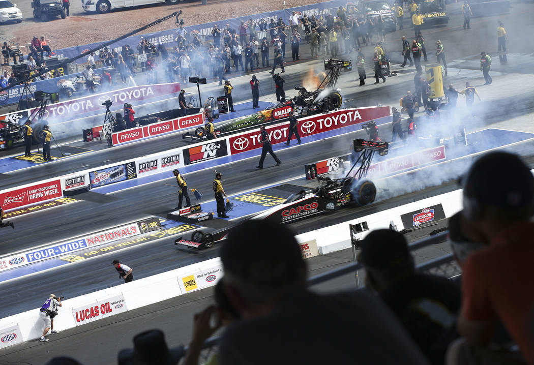 Top Fuel drivers practice before competing during the first day of qualifying for the DENSO Spark Plugs NHRA Nationals at The Strip at Las Vegas Motor Speedway on Friday, April 6, 2018. Chase Stev ...
