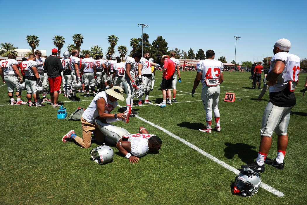UNLV'S running back Xzaviar Campbell (35) is stretched out before second quarter of UNLV's spring football game at the Peter Johann Memorial Field in Las Vegas on Saturday, April 14, 2018. Andrea ...