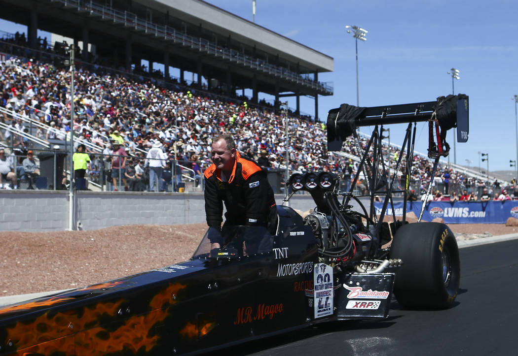 Top Fuel driver Terry Totten heads out from the track after competing during the second day of qualifying for the DENSO Spark Plugs NHRA Nationals at The Strip at Las Vegas Motor Speedway in Las V ...