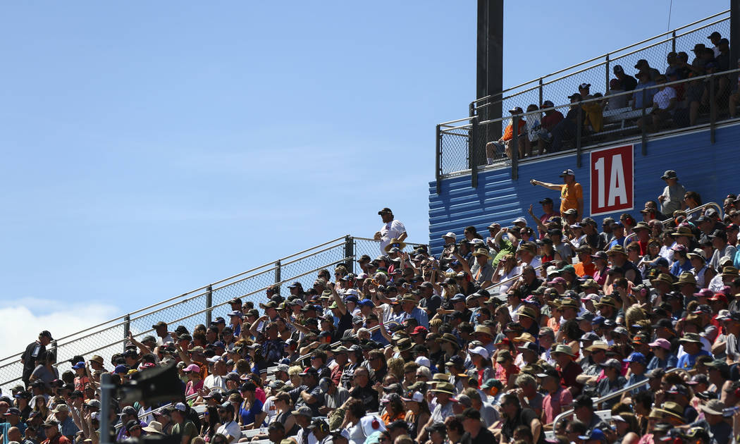 Fans take in the action during the second day of qualifying for the DENSO Spark Plugs NHRA Nationals at The Strip at Las Vegas Motor Speedway in Las Vegas on Saturday, April 7, 2018. Chase Stevens ...