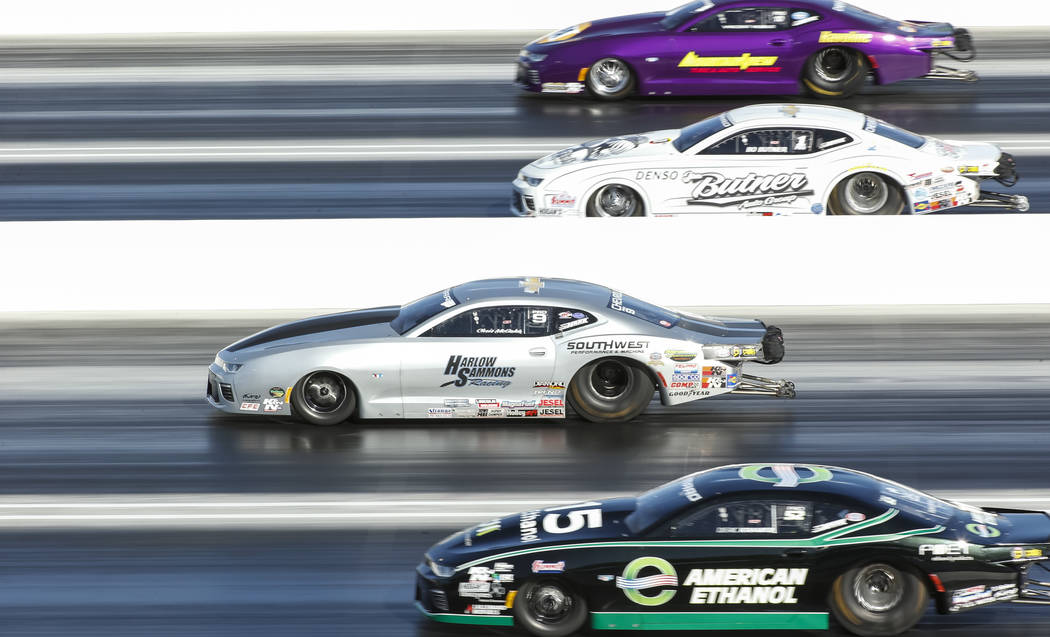 Pro Stock drivers, from top to bottom, Vincent Nobile, Bo Butner, Chris McGaha and Deric Kramer compete in the final elimination race of the DENSO Spark Plug NHRA Four-Wide Nationals at The Strip  ...