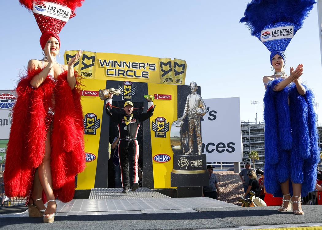 Top Fuel champion Steve Torrence is introduced on stage following the DENSO Spark Plug NHRA Four-Wide Nationals at The Strip at Las Vegas Motor Speedway in Las Vegas on Sunday, April 8, 2018. Rich ...