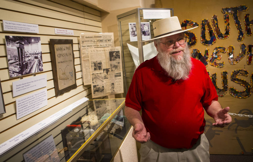 "Clark County museums administrator Mark Hall-Patton talks about the history of the Clark County Museum in Henderson on Wednesday, April 4, 2018. The museum is featuring an exhibition called "" ..."