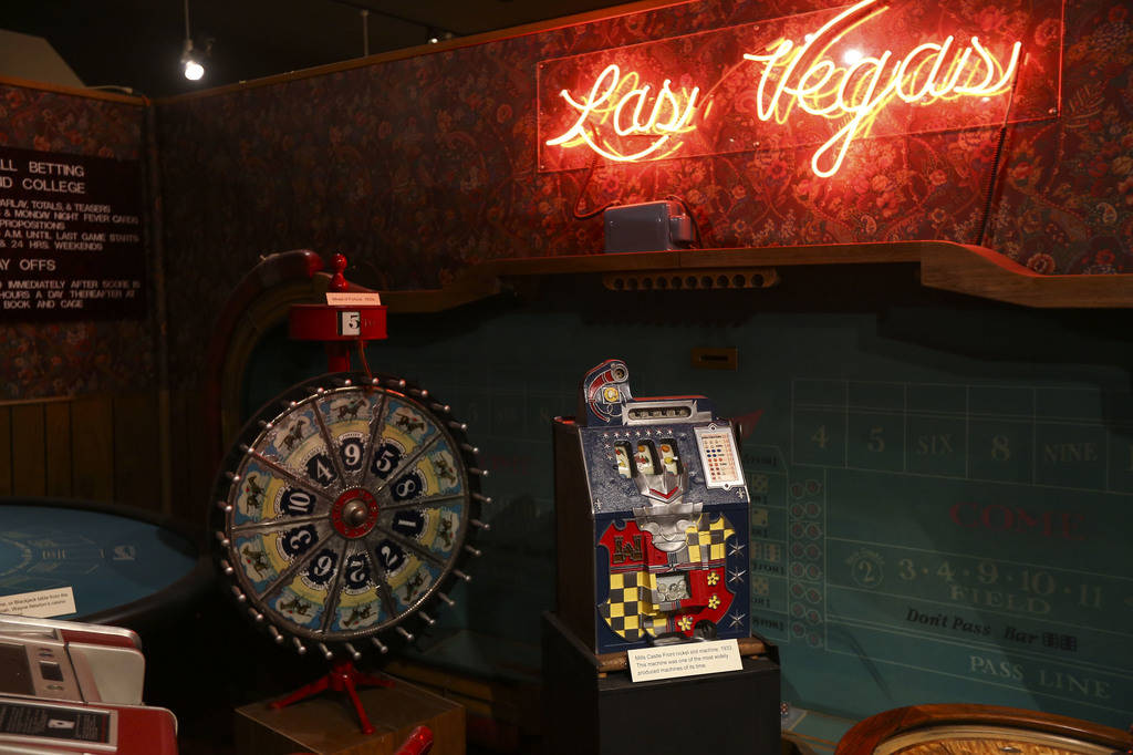 "Gaming items on display at the Clark County Museum in Henderson on Wednesday, April 4, 2018. The museum is featuring an exhibition called ""50 Years of Preserving History: Celebrating the Gold ..."