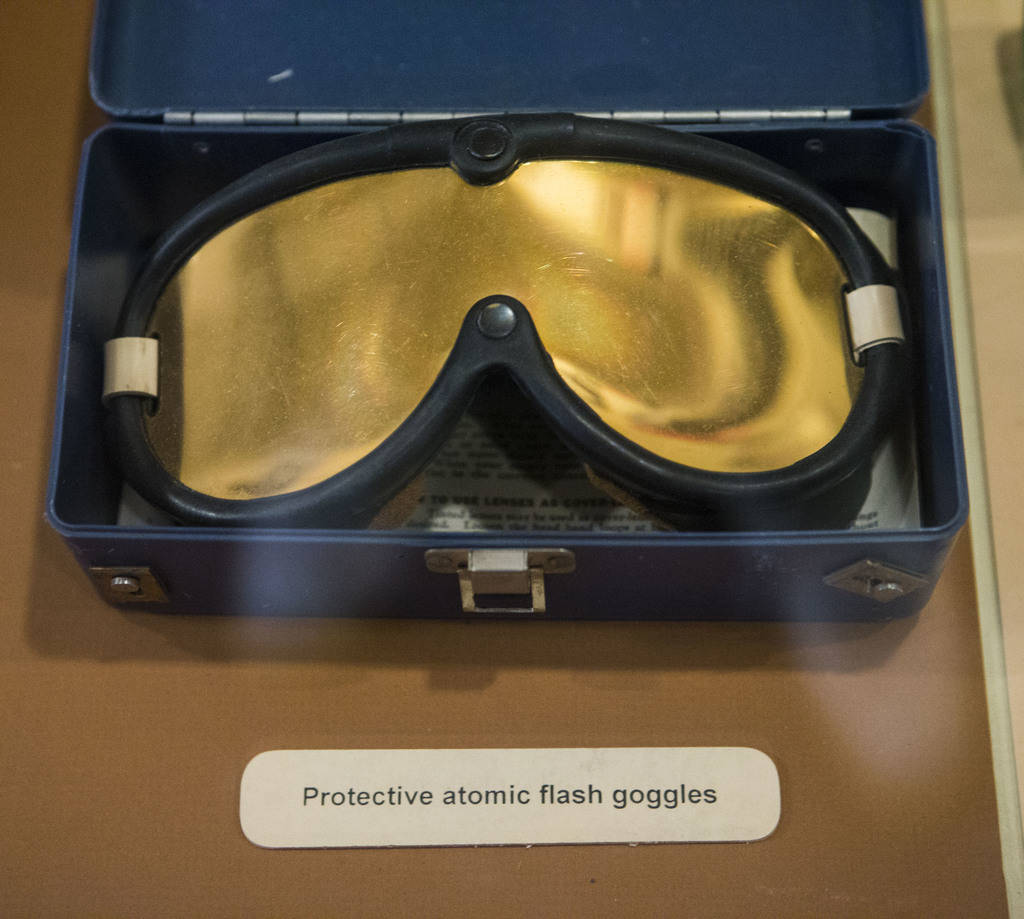 "Atomic flash goggles on display at the Clark County Museum in Henderson on Wednesday, April 4, 2018. The museum is featuring an exhibition called ""50 Years of Preserving History: Celebrating ..."