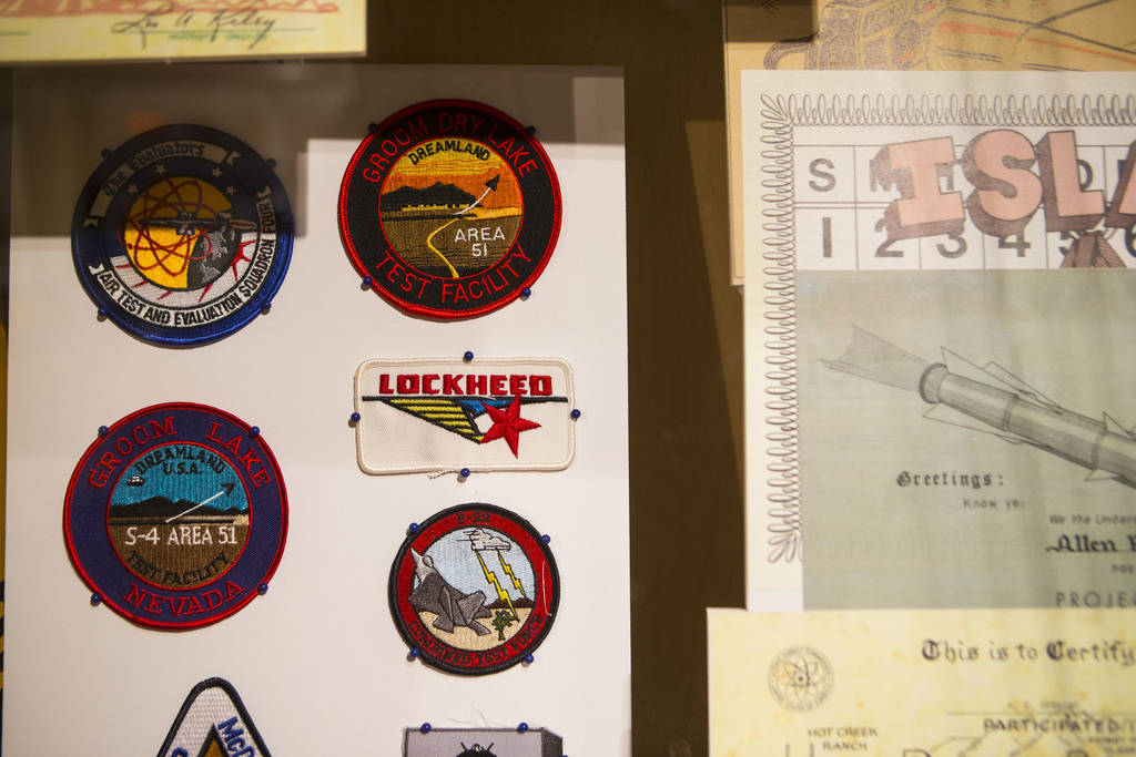 "Military patches on display at the Clark County Museum in Henderson on Wednesday, April 4, 2018. The museum is featuring an exhibition called ""50 Years of Preserving History: Celebrating the ..."