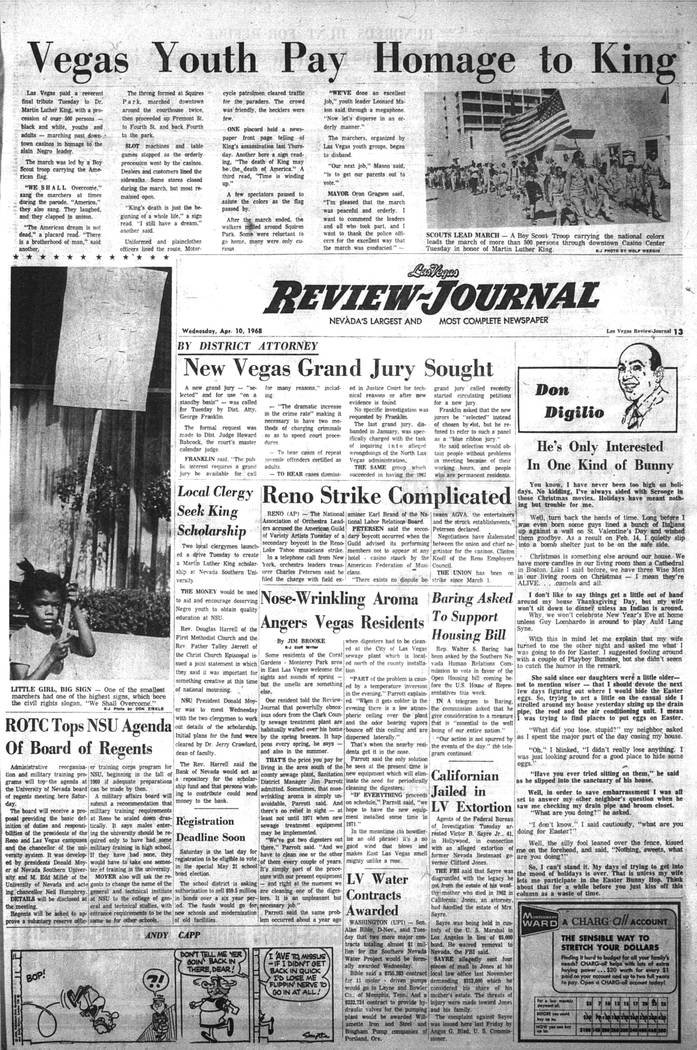 The Las Vegas Review-Journal front page on April 10, 1968. (Las Vegas Review-Journal, file)