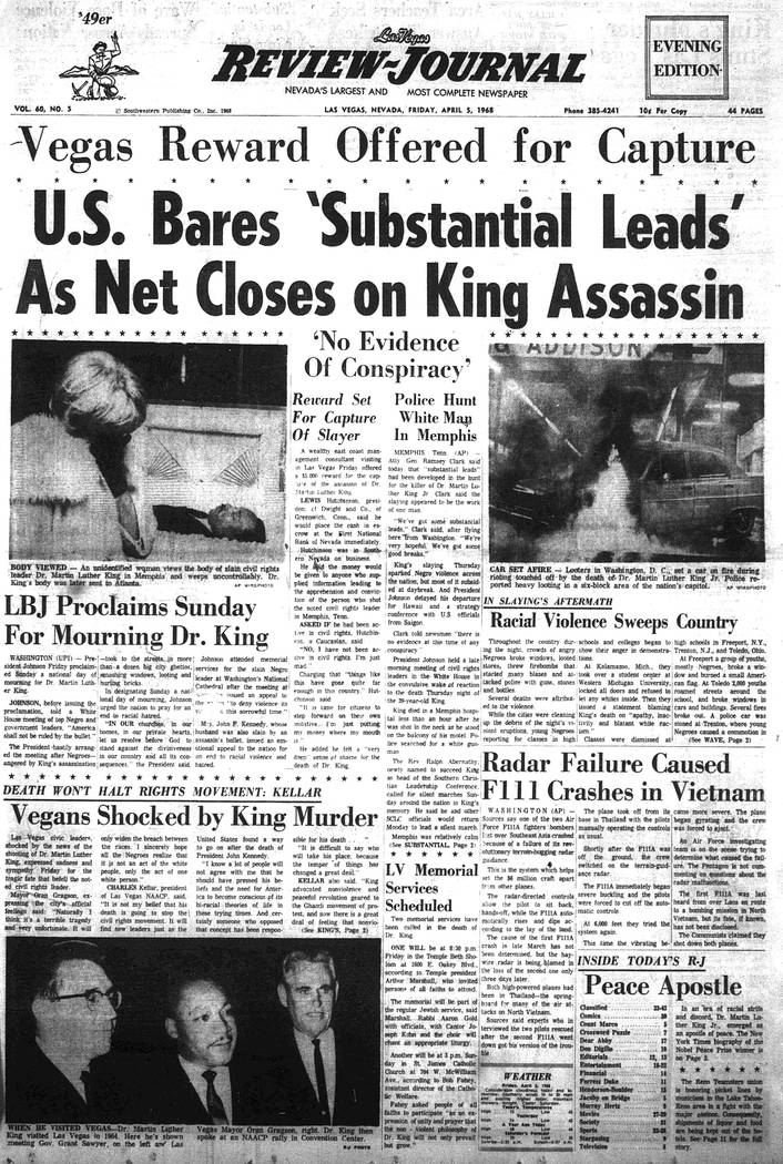 The Las Vegas Review-Journal front page on April 5, 1968. (Las Vegas Review-Journal, file)
