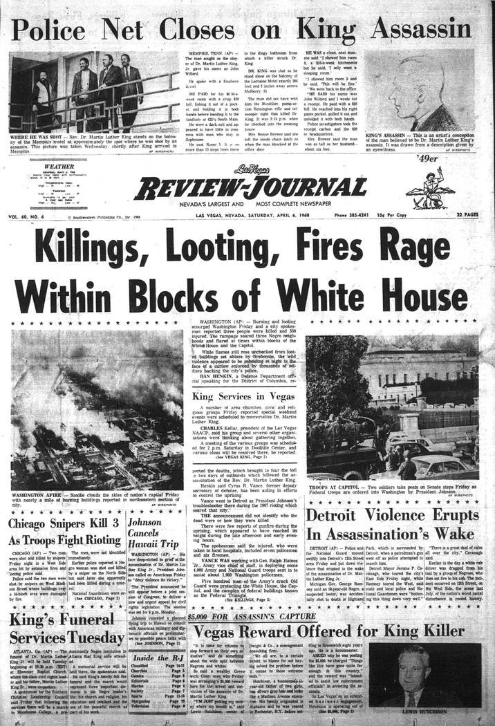The Las Vegas Review-Journal front page on April 6, 1968. (Las Vegas Review-Journal, file)