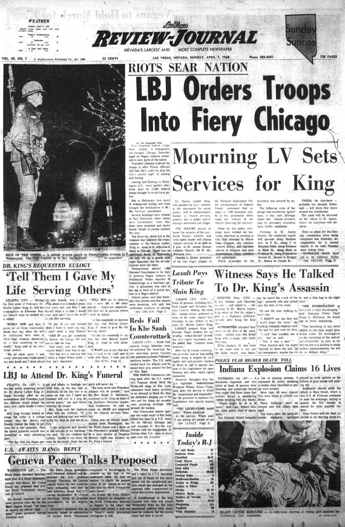 The Las Vegas Review-Journal front page on April 7, 1968. (Las Vegas Review-Journal, file)