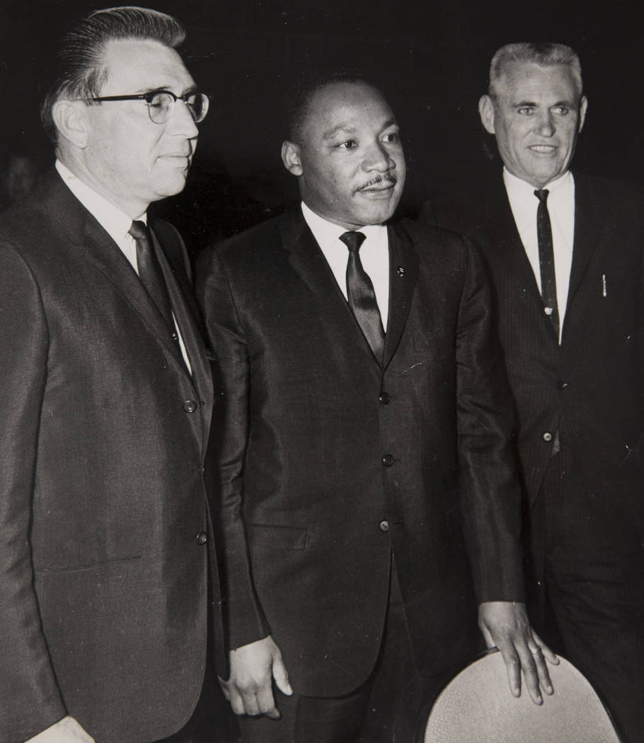 Martin Luther King Jr. poses with Gov. Grant Sawyer, left, and Las Vegas Mayor Oran Gragson during the civil rights leader's visit to Las Vegas in 1964. The photo was reprinted on the Review-Journ ...