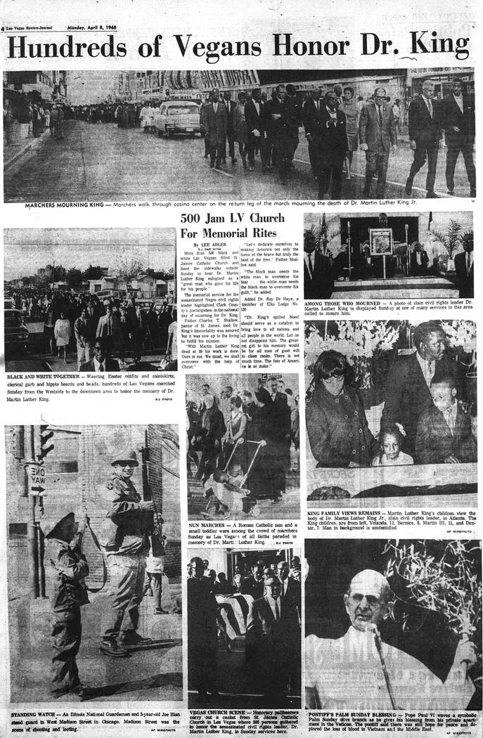 The Las Vegas Review-Journal on April 8, 1968. (Las Vegas Review-Journal, file)