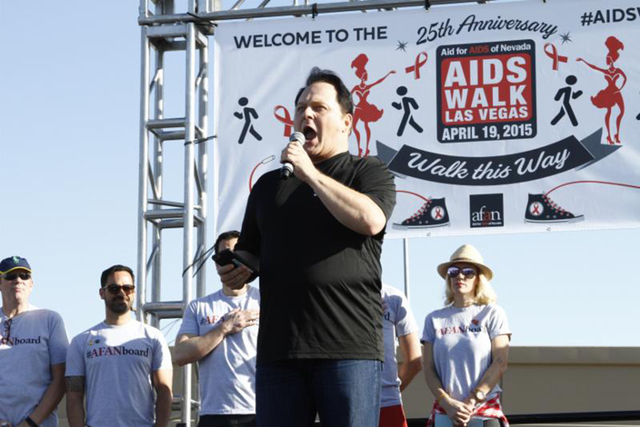 Randal Keith of Steve Wynn's Showstoppers sings the national anthem during the 25th annual AIDS Walk benefiting Aid for AIDS of Nevada (AFAN) April 19 at Town Square Las Vegas. More than 6,000 wal ...