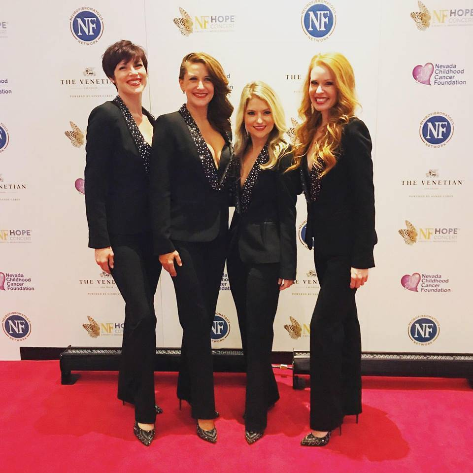 "The lineup of Lady Luck, from left: Lindsay Roginski, Rachel Tyler, Nicole Kaplan and Heidi Marie Webster, shown at the ""NF Hope Concert"" at Palazzo Theater on Sunday, Oct. 22, 2017. (Facebook)"
