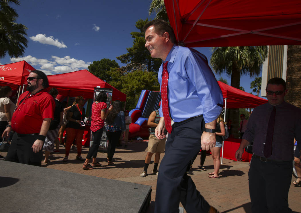 UNLV President Len Jessup during an event marking UNLV's 60th birthday at Pida Plaza on the school's campus in Las Vegas on Tuesday, Sept. 12, 2017. Chase Stevens Las Vegas Review-Journal @cssteve ...