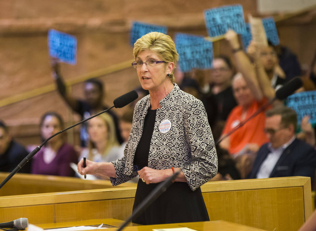 Clark County Commissioner Chris Giunchigliani speaks during public comment about an agenda item on whether or not to direct a gender-diverse policy for the school district during a Clark County Sc ...