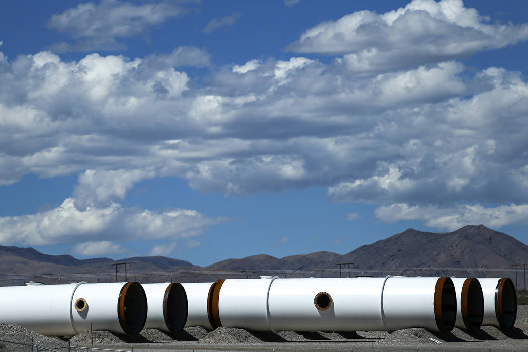 Tubes for Hyperloop One sit in a lot at the Apex Industrial Complex in Moapa, Tuesday, Sept. 12, 2017. Joel Angel Juarez Las Vegas Review-Journal @jajuarezphoto