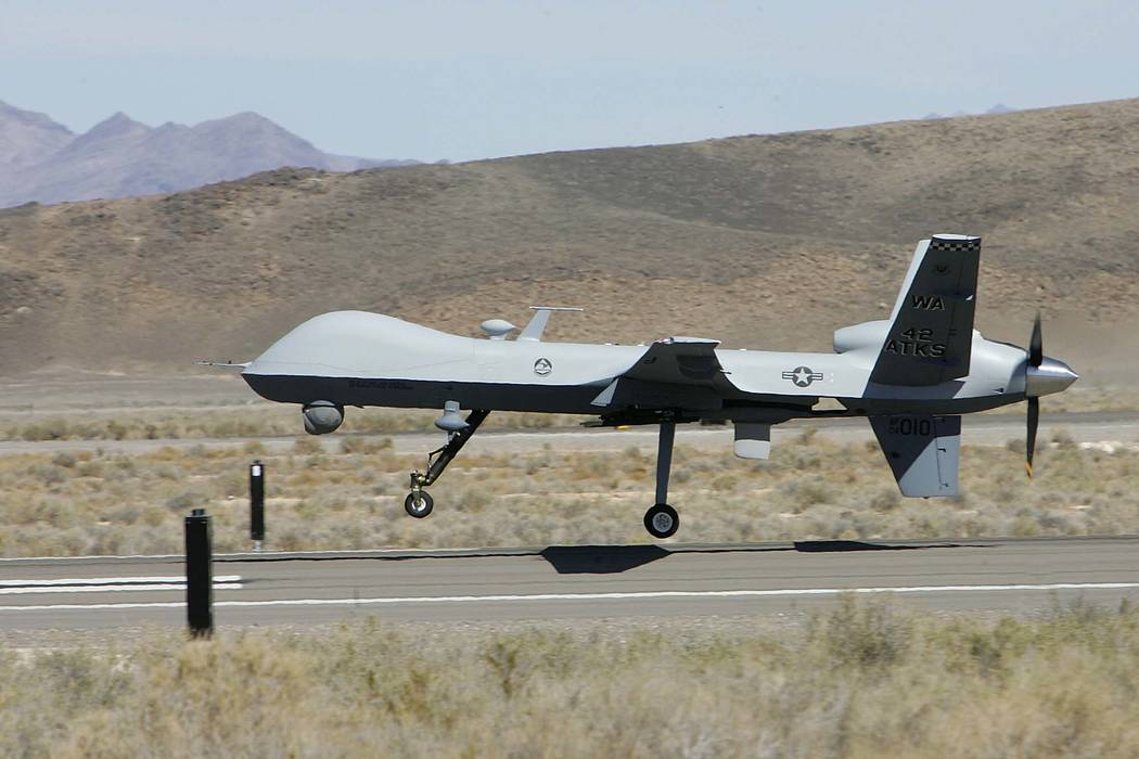 The first MQ-9 Reaper unmanned aerial vehicle comes in for a landing at the Creech Air Force Base at Indian Springs in 2007. (Gary Thompson/Las Vegas Review-Journal)