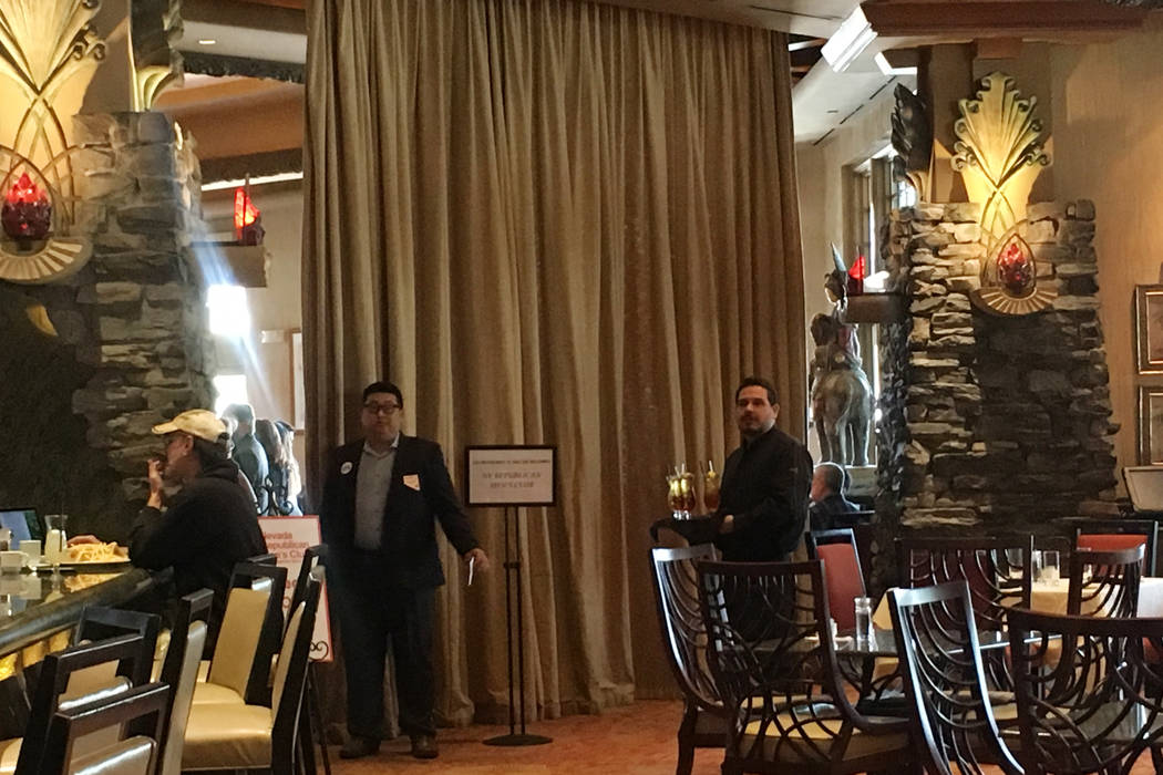 U.S. Senator Dean Heller met with supporters at a luncheon Tuesday behind a curtain inside the Cili Restaurant at the Bali Hai Golf Club in Las Vegas. Staff would not allow reporters inside. (Ramo ...