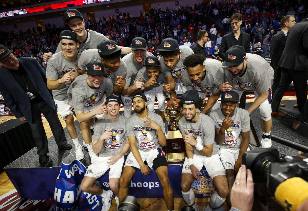 Gonzaga Bulldogs pose after defeating the BYU Cougars 74-54 in the West Coast Conference championship game at the Orleans Arena in Las Vegas on Tuesday, March 6, 2018. Richard Brian Las Vegas Revi ...