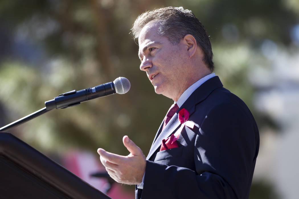 UNLV President Len Jessup speaks during a remembrance ceremony for the mass shooting victims at UNLV in Las Vegas, Thursday, Nov. 2, 2017. Erik Verduzco Las Vegas Review-Journal @Erik_Verduzco