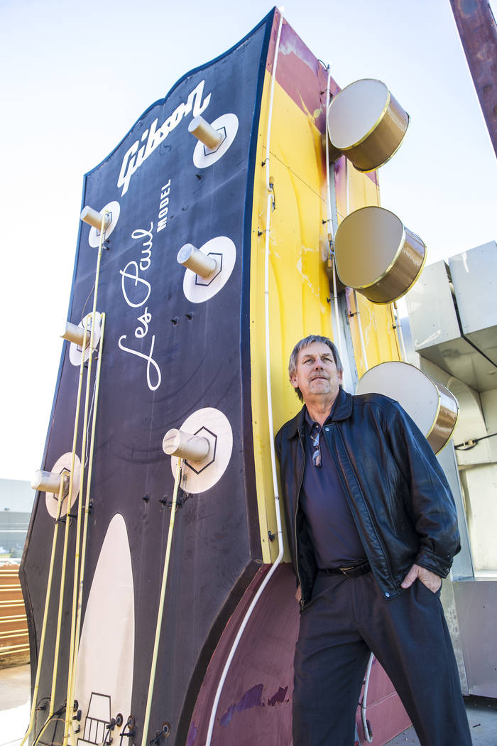 Ed Stagner, assistant sales manager at Young Electric Sign Co., in front of the recently removed neon guitar from the Hard Rock Cafe Las Vegas. Photo taken on Monday, January 22, 2018, at Young El ...