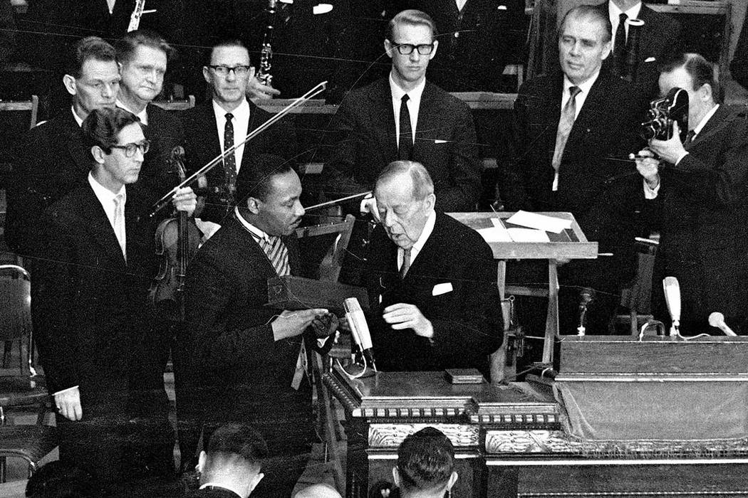 In this Dec. 10, 1964 file photo, U.S. civil rights leader the Rev. Dr. Martin Luther King receives the Nobel Peace Prize from Gunnar Jahn, chairman of the Nobel Committee, in Oslo, Norway. (AP )