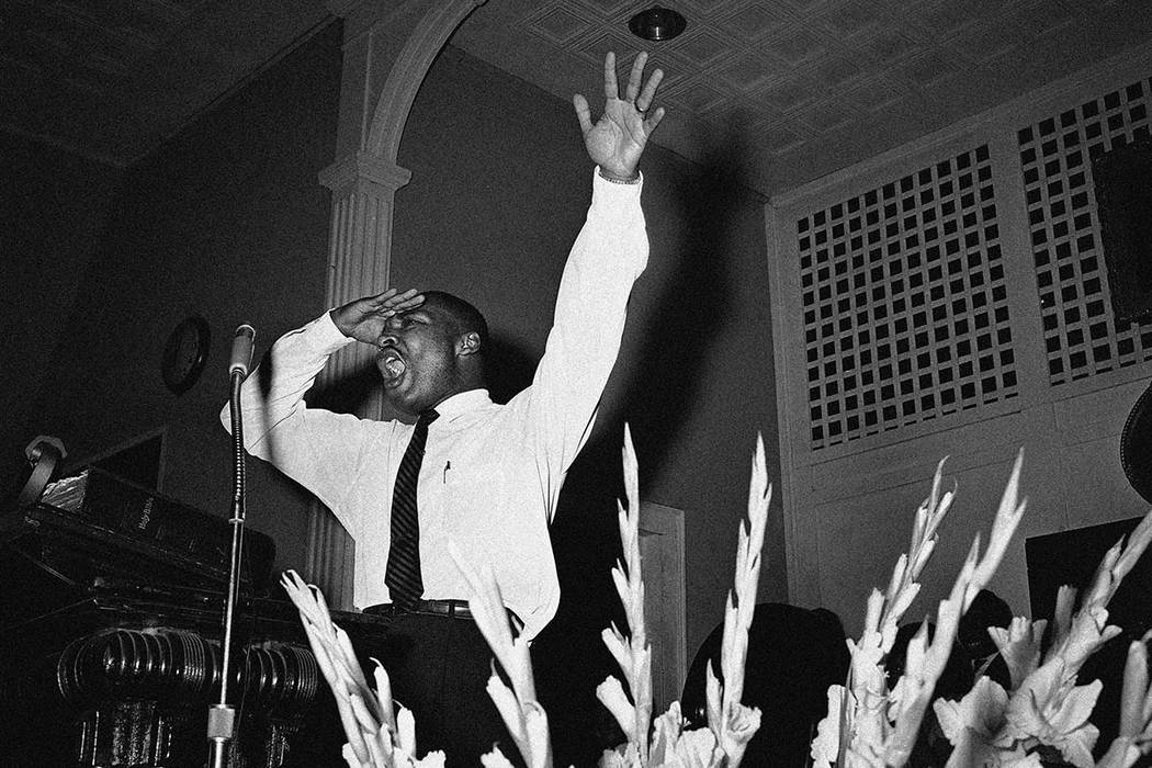 In this undated file photo, the Rev. Dr. Martin Luther King, Jr., preaches in Albany, Ga. King was assassinated on April 4, 1968, in Memphis, Tenn. (AP)