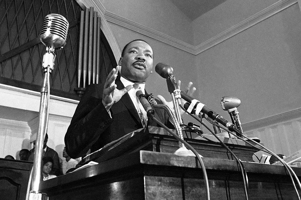 FILE - In this 1960 file photo, Martin Luther King Jr. speaks in Atlanta. The civil rights leader had carried the banner for the causes of social justice — organizing protests, leading marches a ...