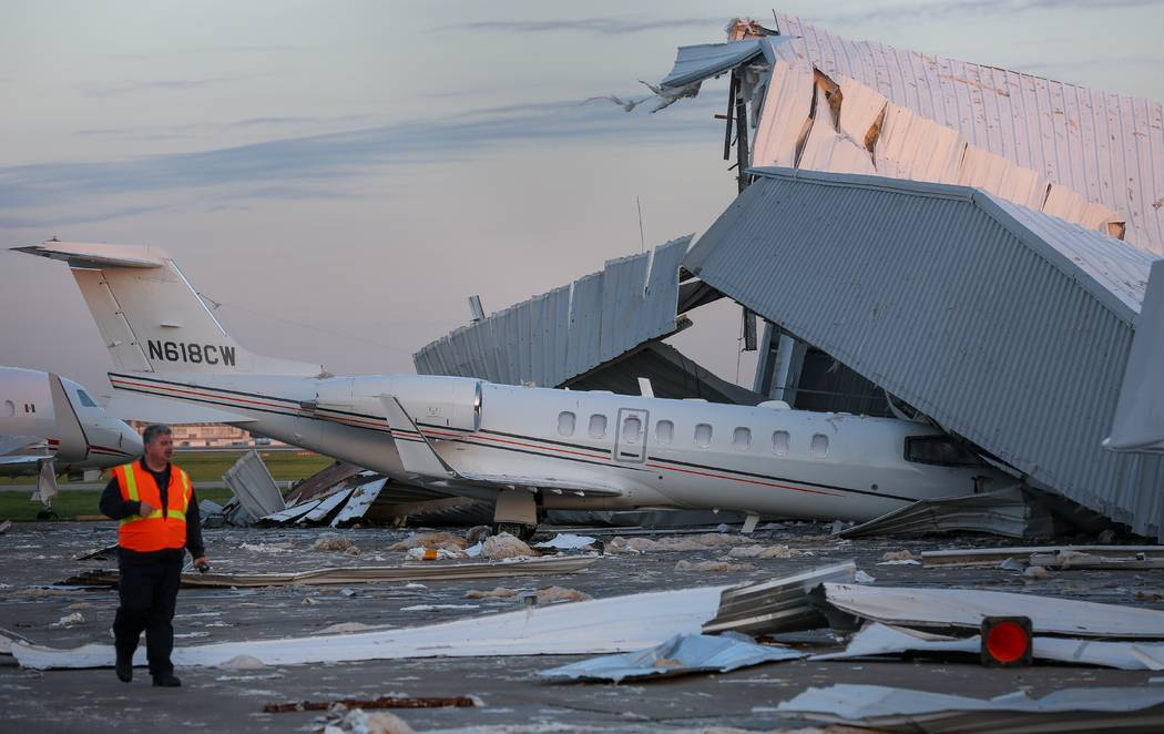 Eight private jets damaged after strong winds cause hangar to collapse